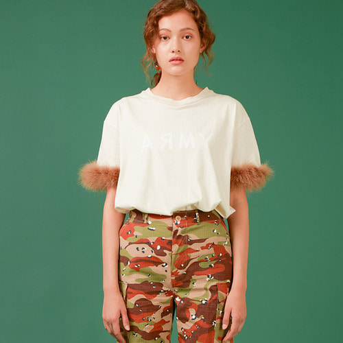 (SALE 70%) ARMY FEATHER T-SHIRT(IVORY)