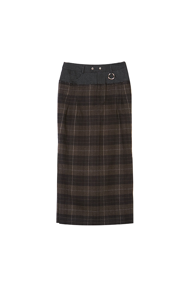 19FW SIDE SLIT PLAID SKIRT